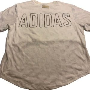 Adidas white t-shirt with white polka dots size S